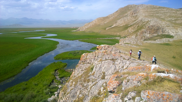 Cliffs around the grasslands - Bayinbuluke Grasslands, Xinjiang, July 2016