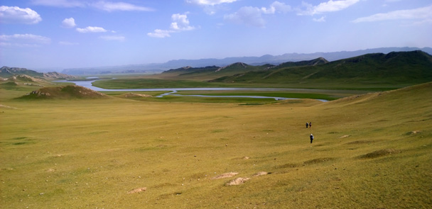 We hiked back through the grasslands - Bayinbuluke Grasslands, Xinjiang, July 2016
