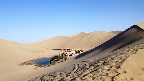 A view of Crescent Lake from the surrounding sand dunes high above.