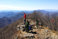 Hikers on the peak of Heituo Mountain