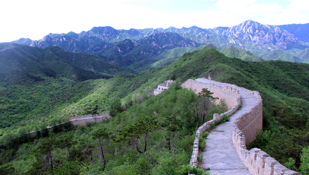 A old Great Wall tower on the unrestored section at  Huanghuachengl