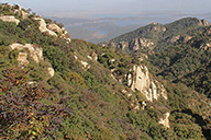 Rocky outcrops and bluffs, seen from the scenic top trail of Immortal Valley