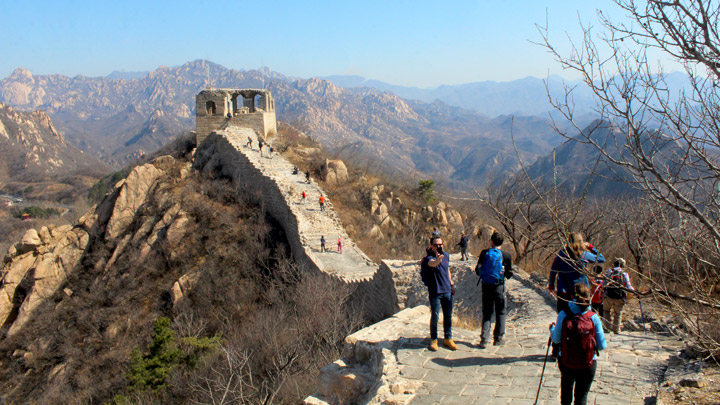 The repaired top section of Great Wall at Longquanyu