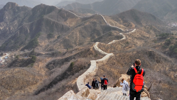 A view of the repaired section of the Longquanyu stretch of Great Wall