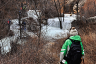 A frozen stream in the valleys near Longquanyu