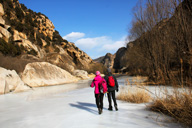 Hiking down the frozen White River
