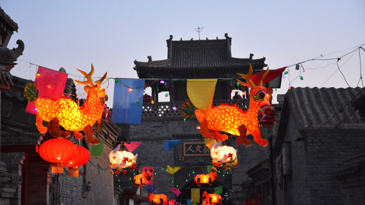 Lanterns at night in Nuanquanzhen