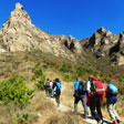 Hiking toward craggy peaks in the Yudu Mountains