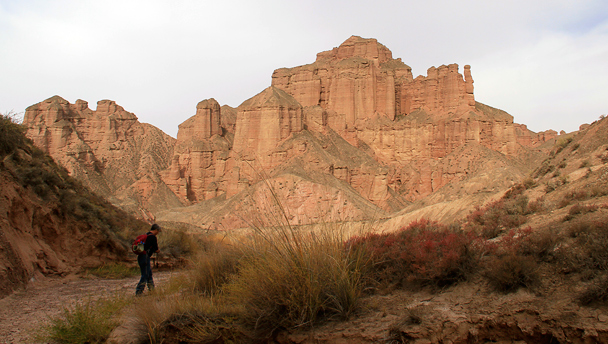 Tall cliffs in the distance, Zhangye Danxia Landform