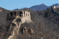 Towers on the ridgeline on the wild Great Wall at Huanghuacheng