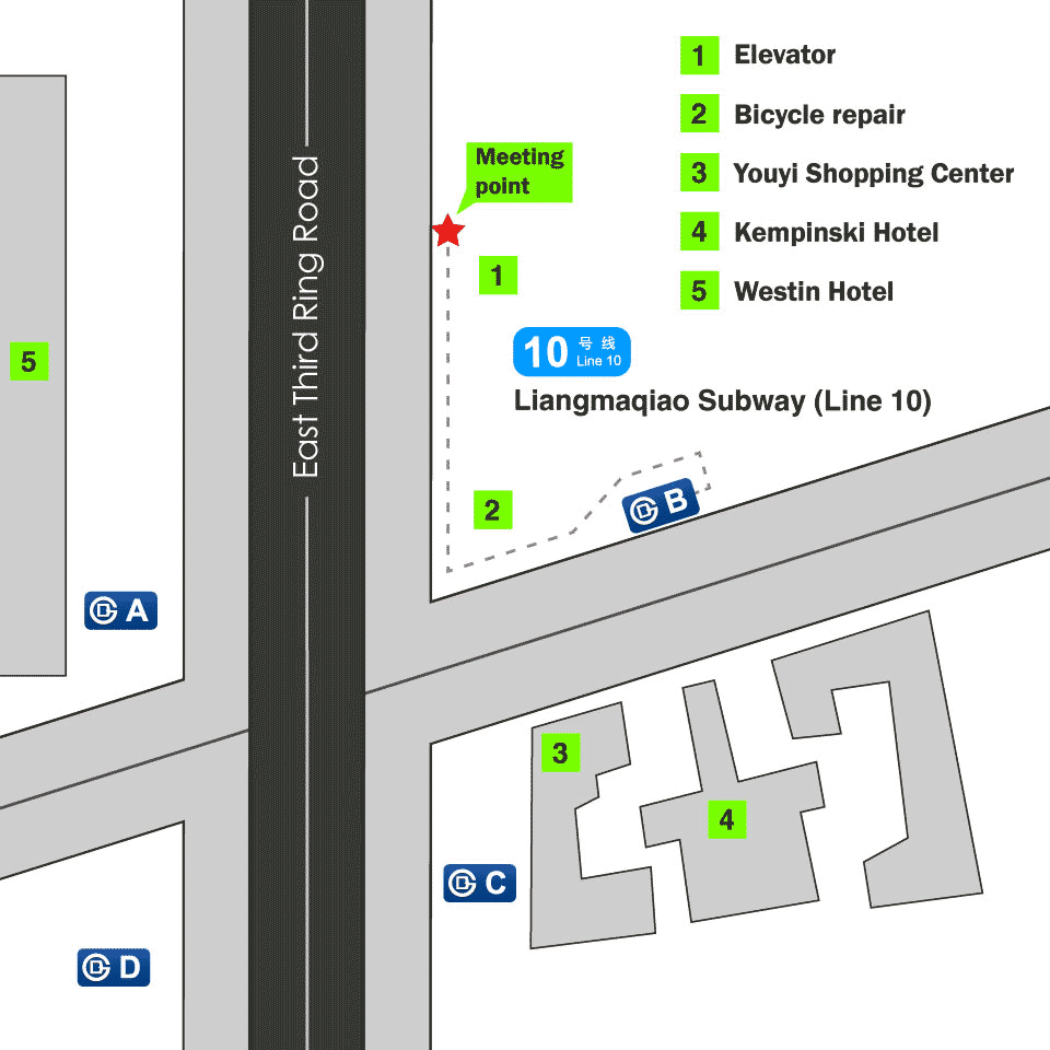 Map of where to meet at Liangmaqiao