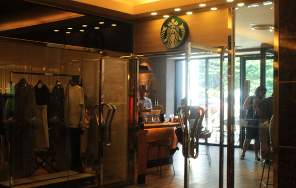 The inside entrance of the Starbucks at Lido Place