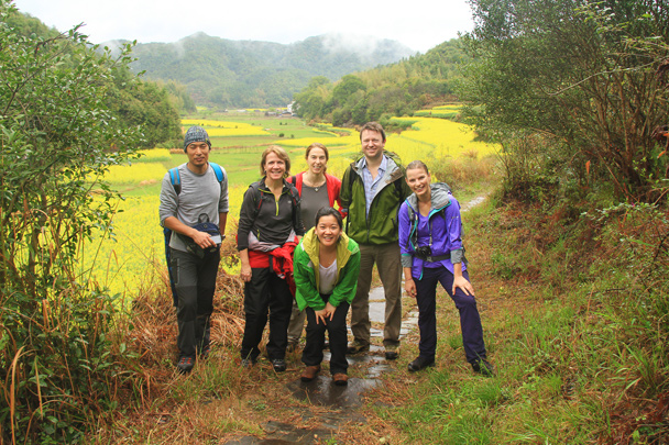 The hiking team pose for a photo with our local guide - Wuyuan County, Jiangxi Province, 2014/03