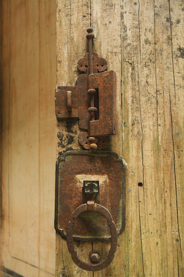 Another of the old door knockers, along with a padlock - Wuyuan County, Jiangxi Province, 2014/03