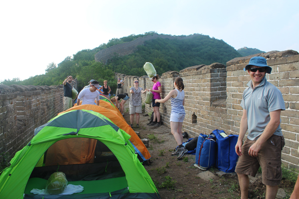Setting up camp on the Great Wall