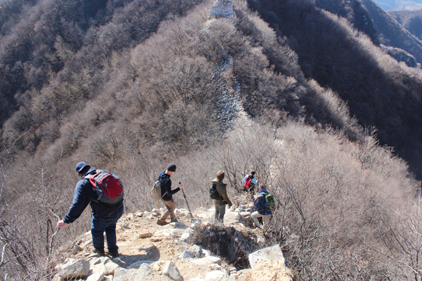 A steep and tricky section - Jiankou Big West Great Wall, 2015/02/11