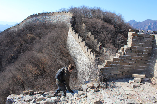 We came through the remains of a tower - Jiankou Big West Great Wall, 2015/02/11