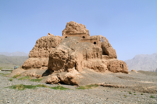 Remains of a large building - Bayinbuluke Grasslands, Xinjiang, July 2016