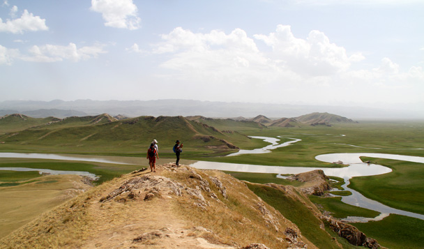 Great views from up on the ridge - Bayinbuluke Grasslands, Xinjiang, July 2016