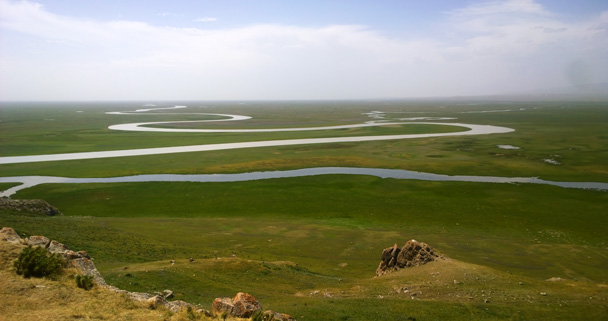 Views of the river running through the grasslands - Bayinbuluke Grasslands, Xinjiang, July 2016