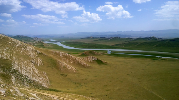 Mountains and hills in the distance - Bayinbuluke Grasslands, Xinjiang, July 2016