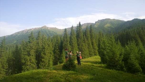 We hiked up through the forest - Bayinbuluke Grasslands, Xinjiang, July 2016