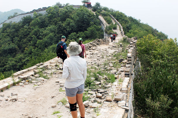 We'd be hiking this way, on a flatter part of the wall - Jiankou to Mutianyu Great Wall, 2015/7/11