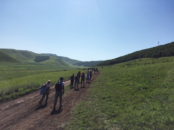 Starting out on a hike - Bashang Grasslands, August 2015