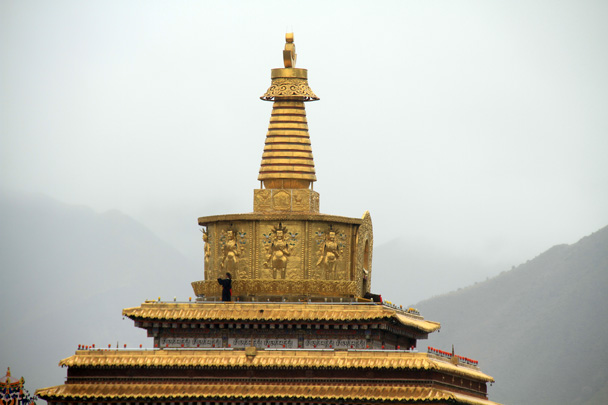 Spot the two people praying atop the golden pagoda at Labrang Monastery - Xiahe, Labrang Monastery, and Zhagana, Gansu Province, September 2015