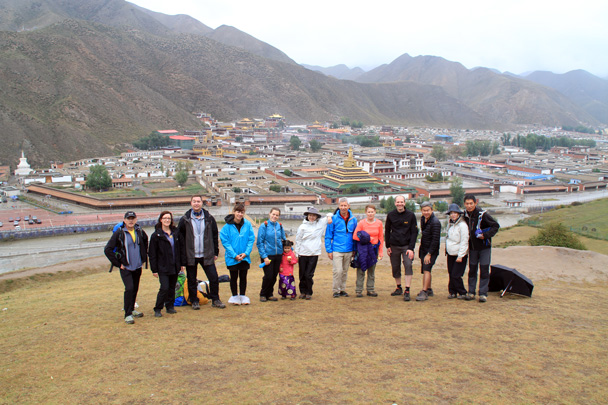 Group photo at Xiahe, with the monastery behind - Xiahe, Labrang Monastery, and Zhagana, Gansu Province, September 2015