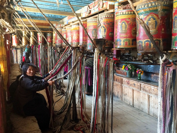 They had a sort of pulley system set up for the prayer wheels - Xiahe, Labrang Monastery, and Zhagana, Gansu Province, September 2015