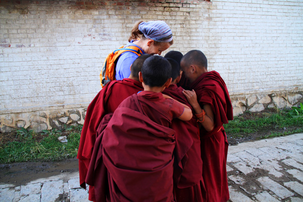 Little monks all wanted to see themselves in a photo - Xiahe, Labrang Monastery, and Zhagana, Gansu Province, September 2015