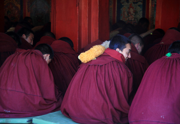 Monks were ready to pray - Xiahe, Labrang Monastery, and Zhagana, Gansu Province, September 2015