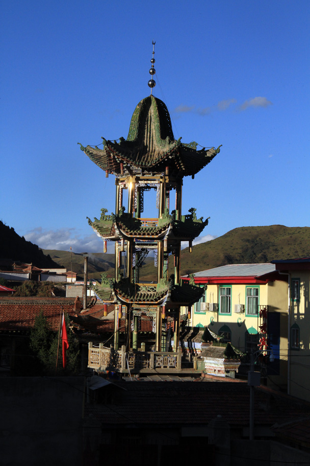 We spotted a Muslim-style pagoda in the middle of the village – check the crescent moon on the steeple - Xiahe, Labrang Monastery, and Zhagana, Gansu Province, September 2015