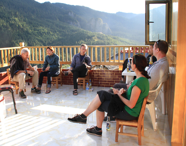 Taking a break on the balcony at our guesthouse - Xiahe, Labrang Monastery, and Zhagana, Gansu Province, September 2015
