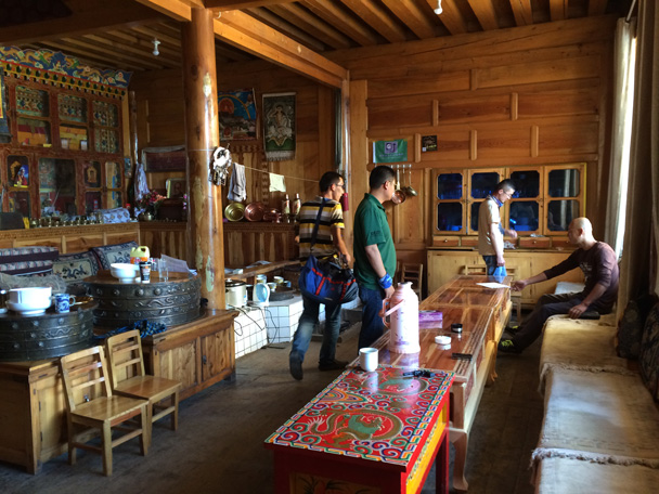 Tibetan-style guesthouse decorations - Xiahe, Labrang Monastery, and Zhagana, Gansu Province, September 2015