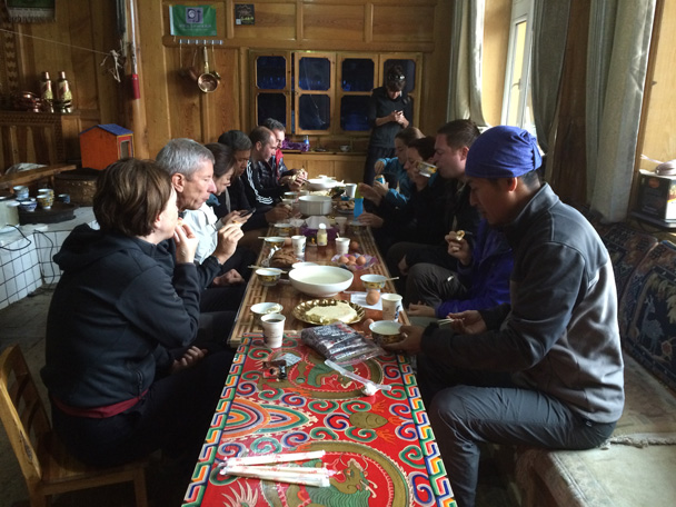 Breakfast at the guesthouse - Xiahe, Labrang Monastery, and Zhagana, Gansu Province, September 2015
