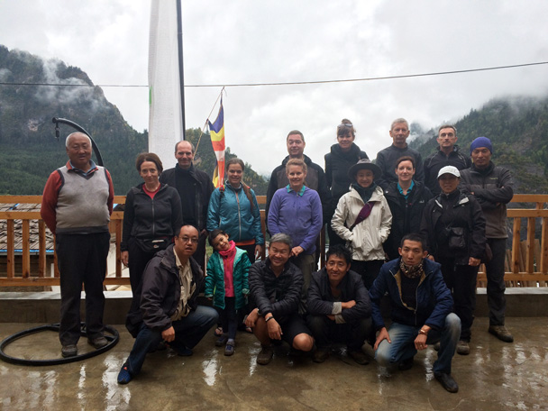 Group photo with the proprietor of the guesthouse - Xiahe, Labrang Monastery, and Zhagana, Gansu Province, September 2015