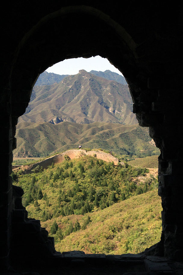 Looking out through a a beacon tower's broken window - Gubeikou Great Wall Loop, 2015/09/19