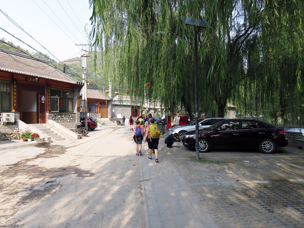 We started our hike walking through Gubeikou Village - Camping at the Gubeikou Great Wall, 2015/10