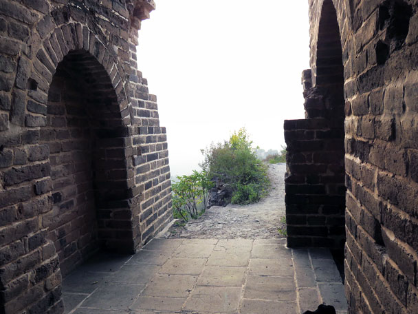 The entrance to our accommodation for the evening – a renovated and spacious beacon tower! - Camping at the Gubeikou Great Wall, 2015/10