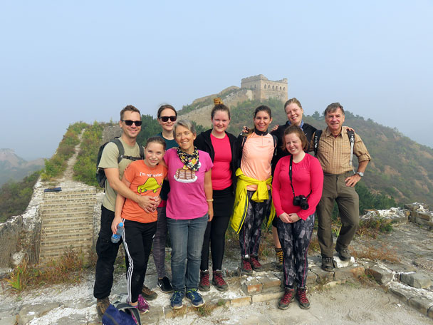 A group photo of our hikers at Jinshanling - Camping at the Gubeikou Great Wall, 2015/10