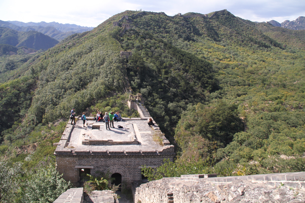 On top of the restored tower after the first climb - Walled Village to Huanghuacheng Great Wall, 2015/10/09