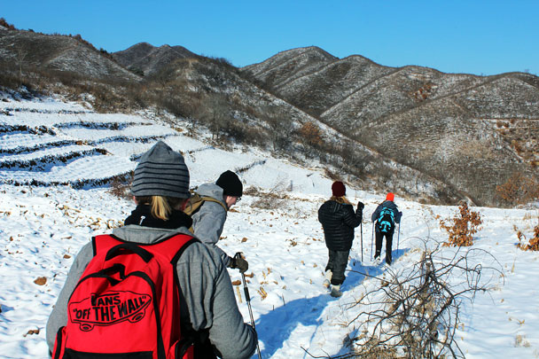 We detoured through farmland to skirt the military area - Hemp Village to Gubeikou Great Wall Hike, 2016/01/17