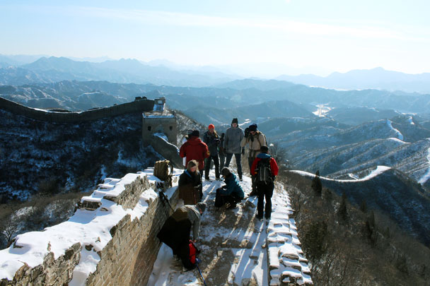 Up on the wall by 24-Eyes Tower - Hemp Village to Gubeikou Great Wall Hike, 2016/01/17