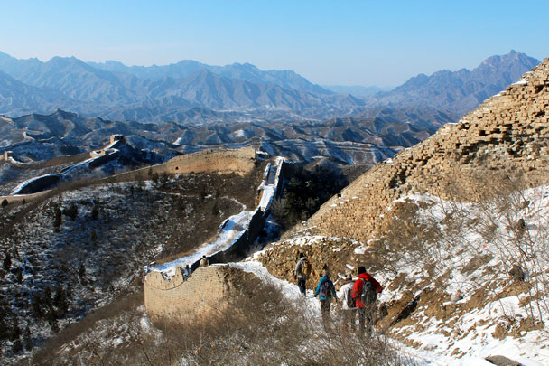 We were to hike along all of the Great Wall you can see in this photo - Hemp Village to Gubeikou Great Wall Hike, 2016/01/17
