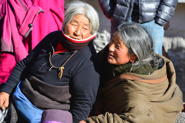 Two old ladies talking about the ceremony - Labrang Monastery and Tibetan New Year, 2016/02