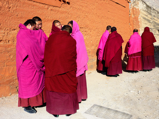 Monks chatting after a debating session - Labrang Monastery and Tibetan New Year, 2016/02
