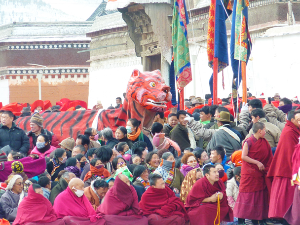 The tiger is an important symbol in the ceremony. The tiger makes sure all people are respecting the traditional customs, and enforces them with a bang on the head if you are misbehaving! - Labrang Monastery and Tibetan New Year, 2016/02