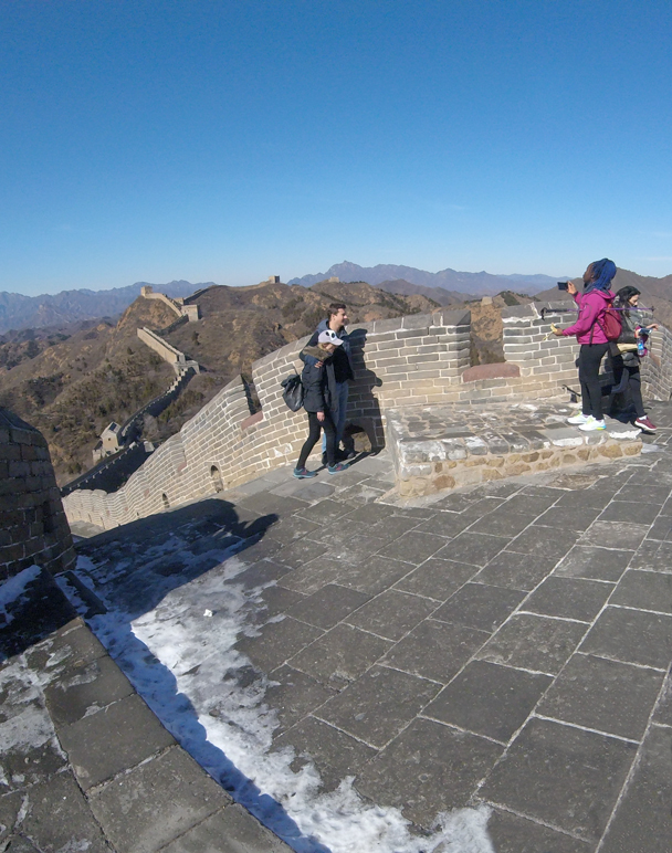 After a steep stair climb we were up on a high point - Jinshanling Great Wall, 2016/02/17
